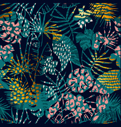 Trendy seamless exotic pattern with palm animal vector