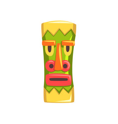 Tribal mask carved wooden statue cartoon vector