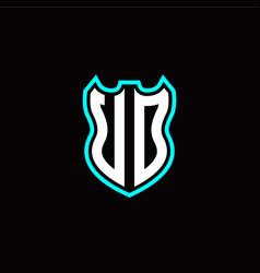 u o initial logo design with shield shape vector image