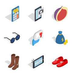 Unmarried icons set isometric style vector