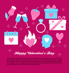 valentines day banner template in flat style vector image