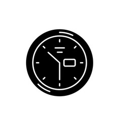 wall clock black icon sign on isolated vector image
