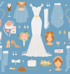 wedding cartoon bride icons seamless vector image