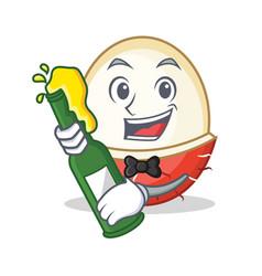 With beer rambutan mascot cartoon style vector