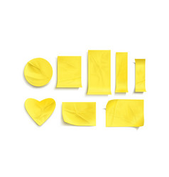 yellow paper stickers crumpled sticky notes vector image
