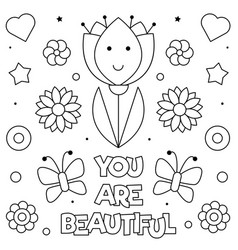 you are beautiful coloring page vector image