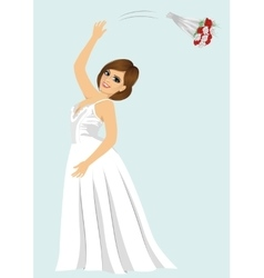 young bride woman throwing rose bouquet vector image