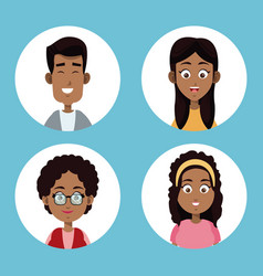 group family afro american vector image