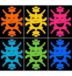 Set of crazy smiling faces on black background vector image vector image