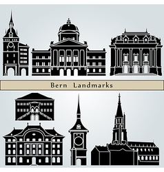 Bern landmarks and monuments vector image