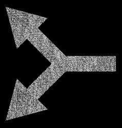 bifurcation arrow left fabric textured icon vector image