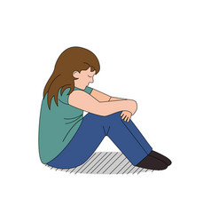 cartoon child depressed and bullied vector image vector image