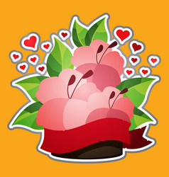 hibiscus sticker lush red flowers and hearts vector image vector image