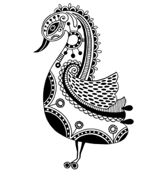 ink drawing of tribal ornamental bird ethnic vector image
