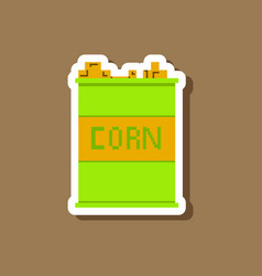 paper sticker on stylish background corn in glass vector image vector image
