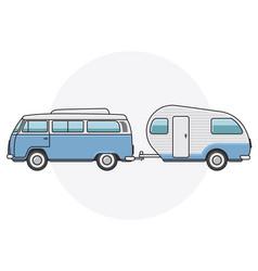 retro van with camper trailer - vintage minibus vector image vector image