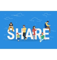 Share concept of young people using vector image vector image