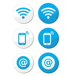 Wifi network internet zone blue labels set vector image