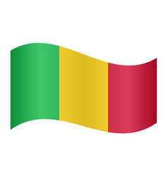flag of mali waving on white background vector image vector image