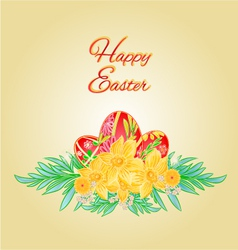 Happy Easter eggs and daffodils place for text vector image vector image