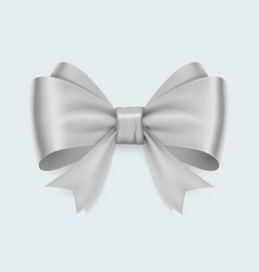 realistic white bow isolated on white background vector image