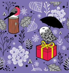 cute seamless pattern with winter birds and snow vector image vector image