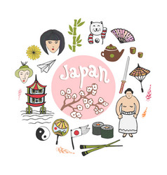 doodle hand draw collection of japan icons vector image vector image