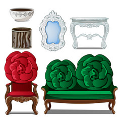 set of classic furniture and interior decoration vector image