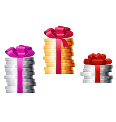 Stacks of coins with colorful ribbons vector image