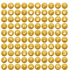 100 equipment icons set gold vector