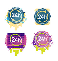 24 hours badges collection vector image