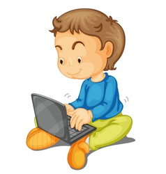 A boy with laptop vector