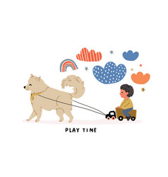 A boy with truck dog samoyed ride vector