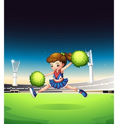 A field with a young girl performing vector