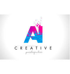 Ai a i letter logo with shattered broken blue vector