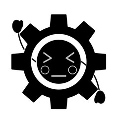 Angry gear kawaii icon image vector