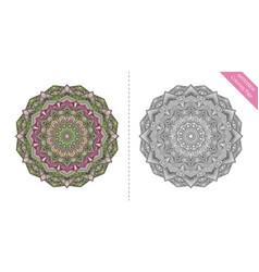 Antistress coloring page mandala tenth vector