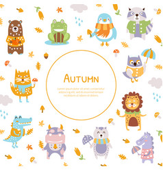 autumn banner template with cute wild animals vector image