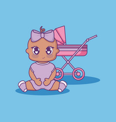 Baby shower card with little girl with cart vector