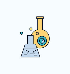 beaker lab test tube scientific flat icon green vector image