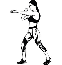 Boxing training woman in gym vector