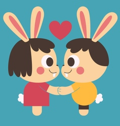 Bunny Couple Holding Hands vector