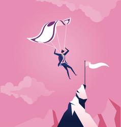 business concept parachuting businessman landing vector image