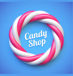 Candy cane circle frame on blue background vector