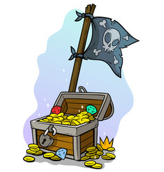 cartoon treasure chest and pirate flag vector image