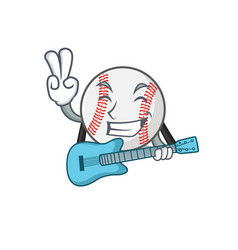 Character isolated baseball with a with guitar vector