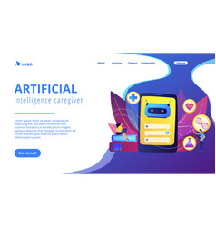 Chatbot in healthcareconcept landing page vector