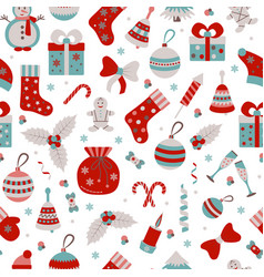 Christmas seamless pattern with many winter doodle vector