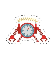 Clock robotic machine pincers arms wheel cutting vector