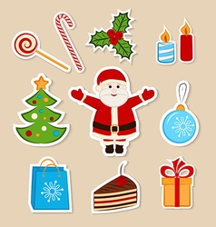 Collection of colorful Christmas stickers vector image